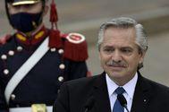 Alberto Fernández, durante la rueda de prensa junto a Pedro Sánchez.
