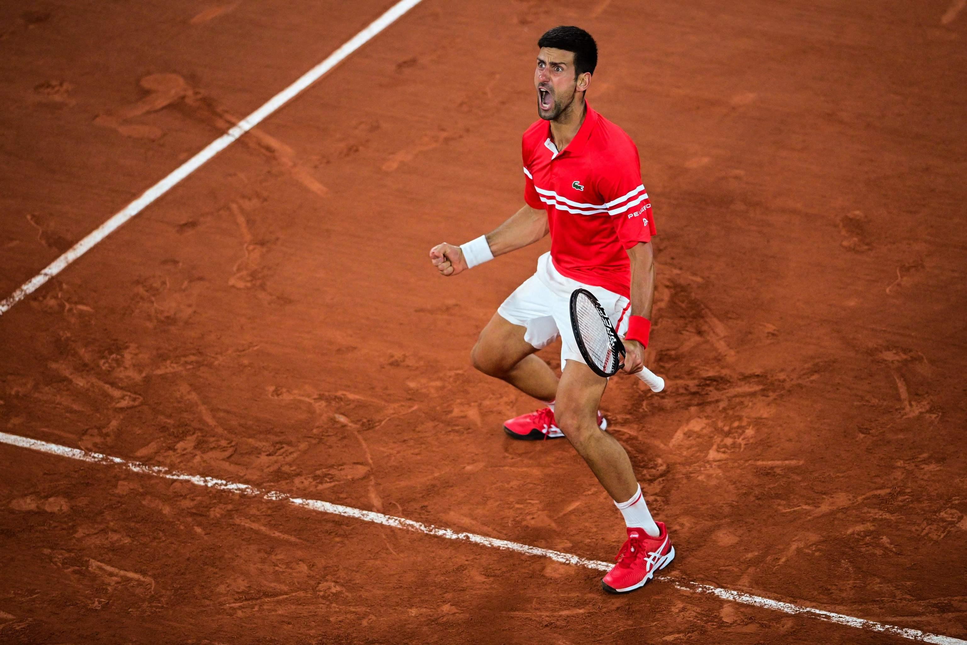 Djokovic, tras su triunfo ante Berrettini en la Philippe Chatrier.