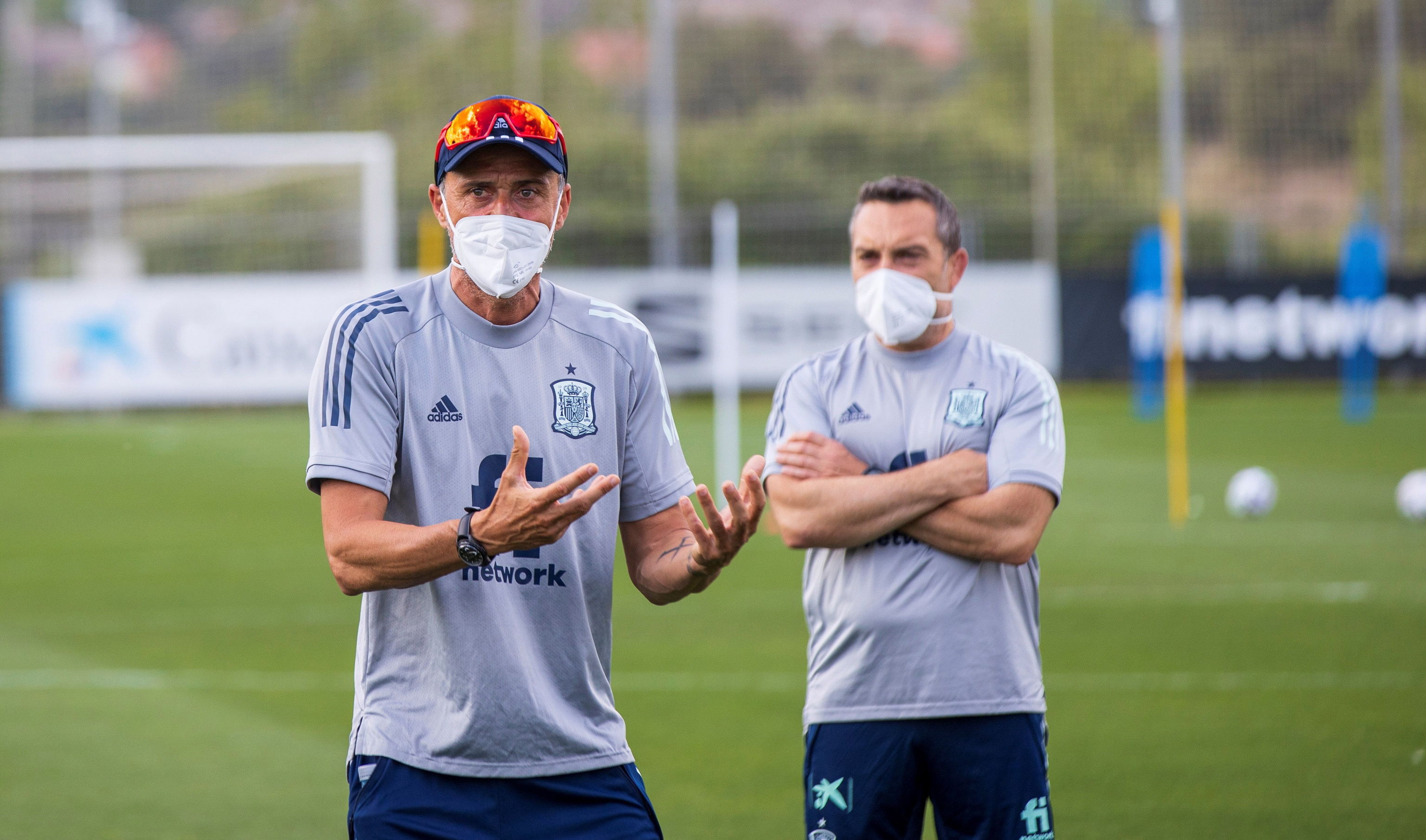 Luis Enrique, during a training session with the national team