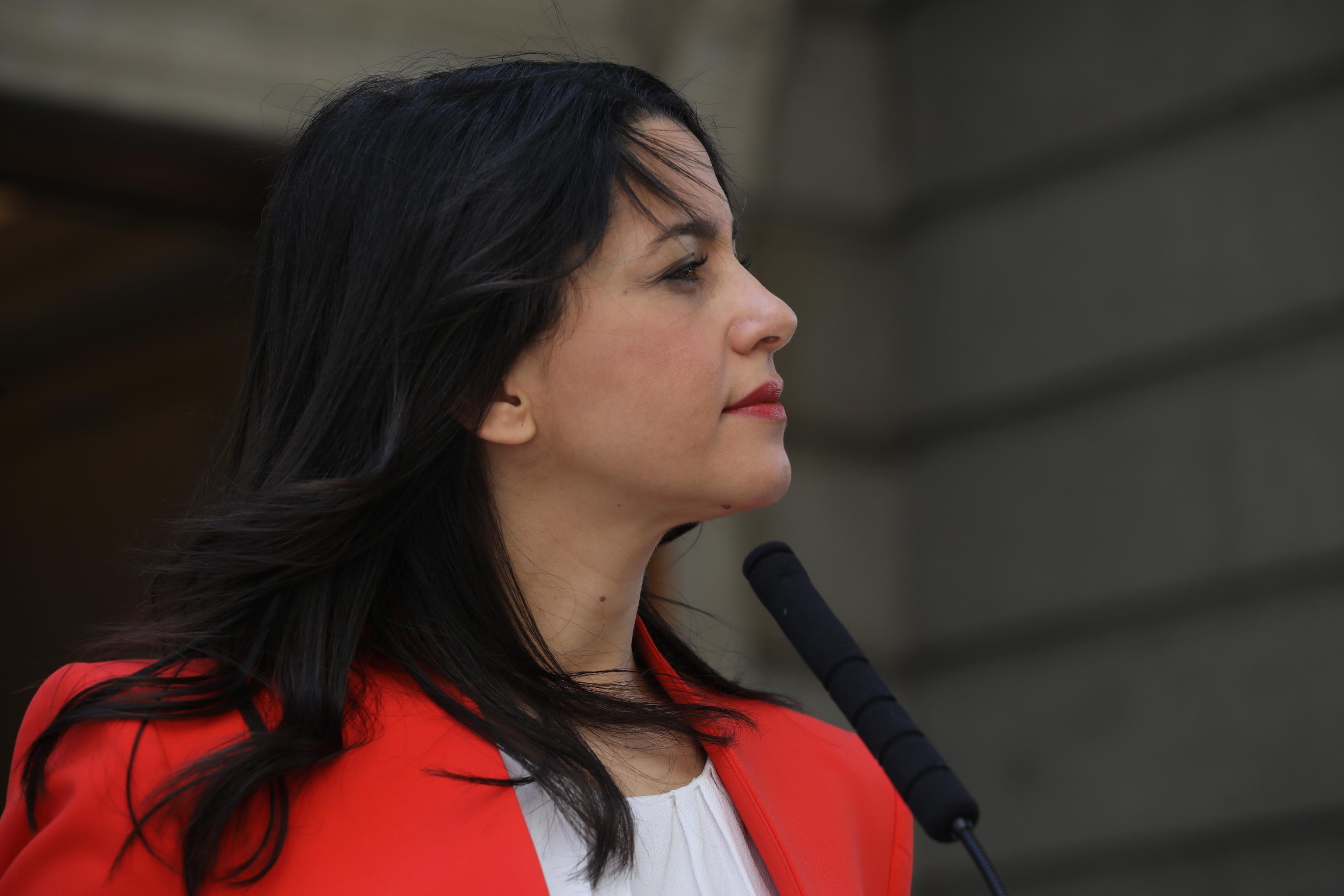 La líder de Ciudadanos, Inés Arrimadas, en una comparecencia.