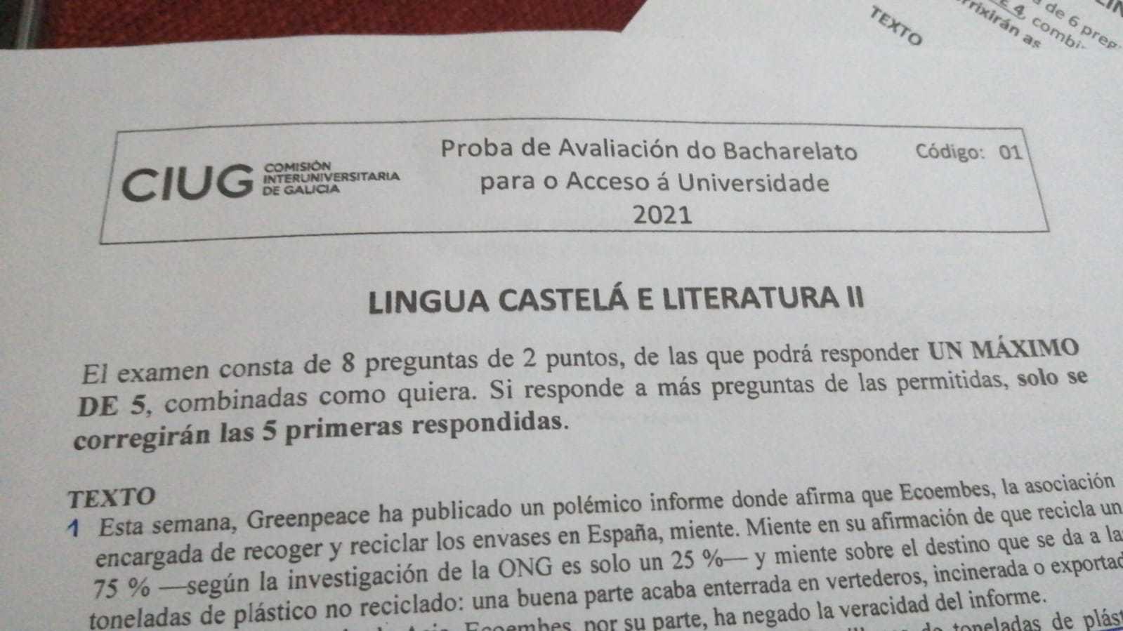 Prueba de castellano en la Selectividad de Galicia.