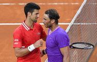 Djokovic y Nadal, tras la final de Roma.