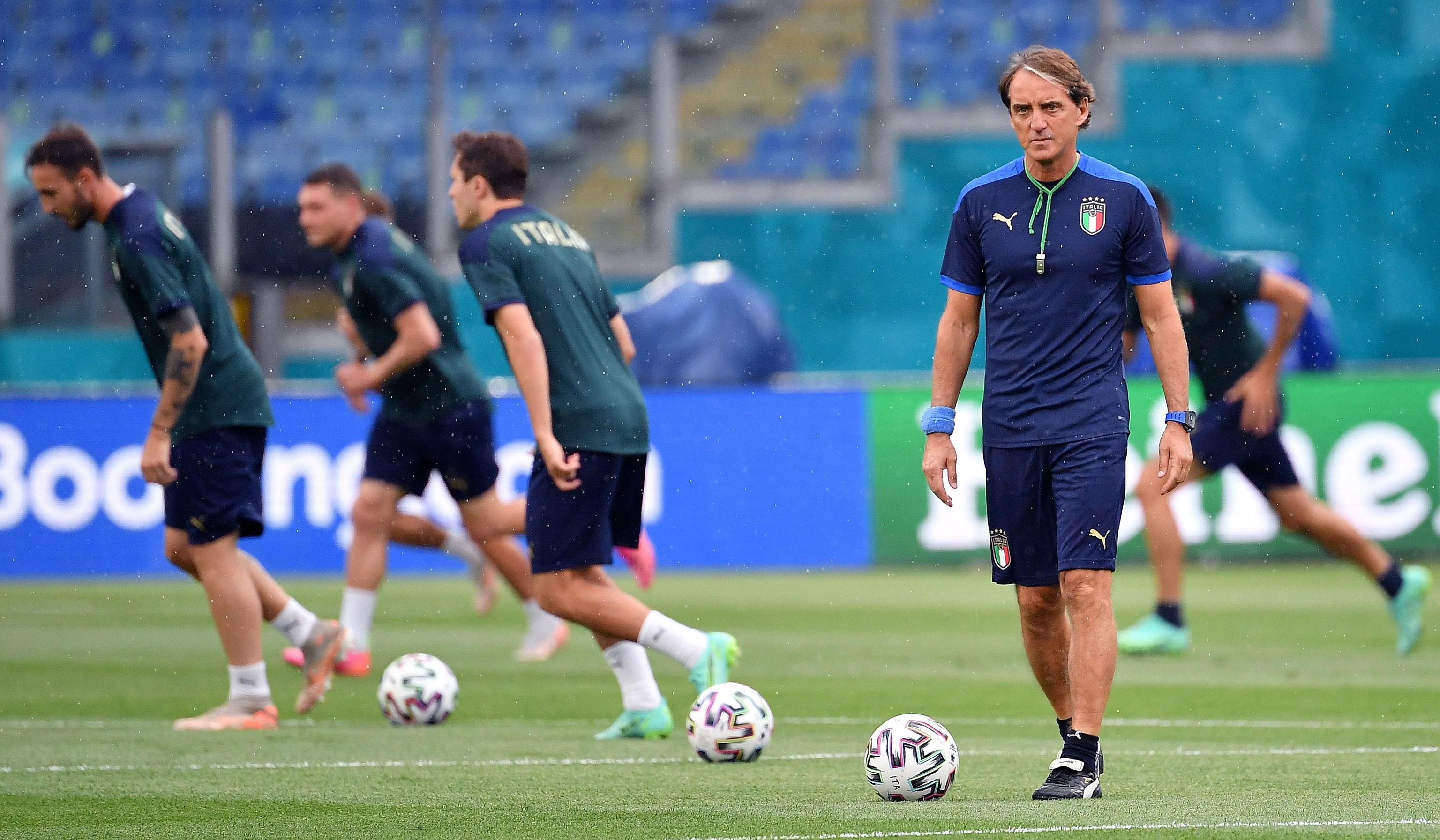 Mancini, durante el último entrenamiento de Italia en el Olímpico de Roma.