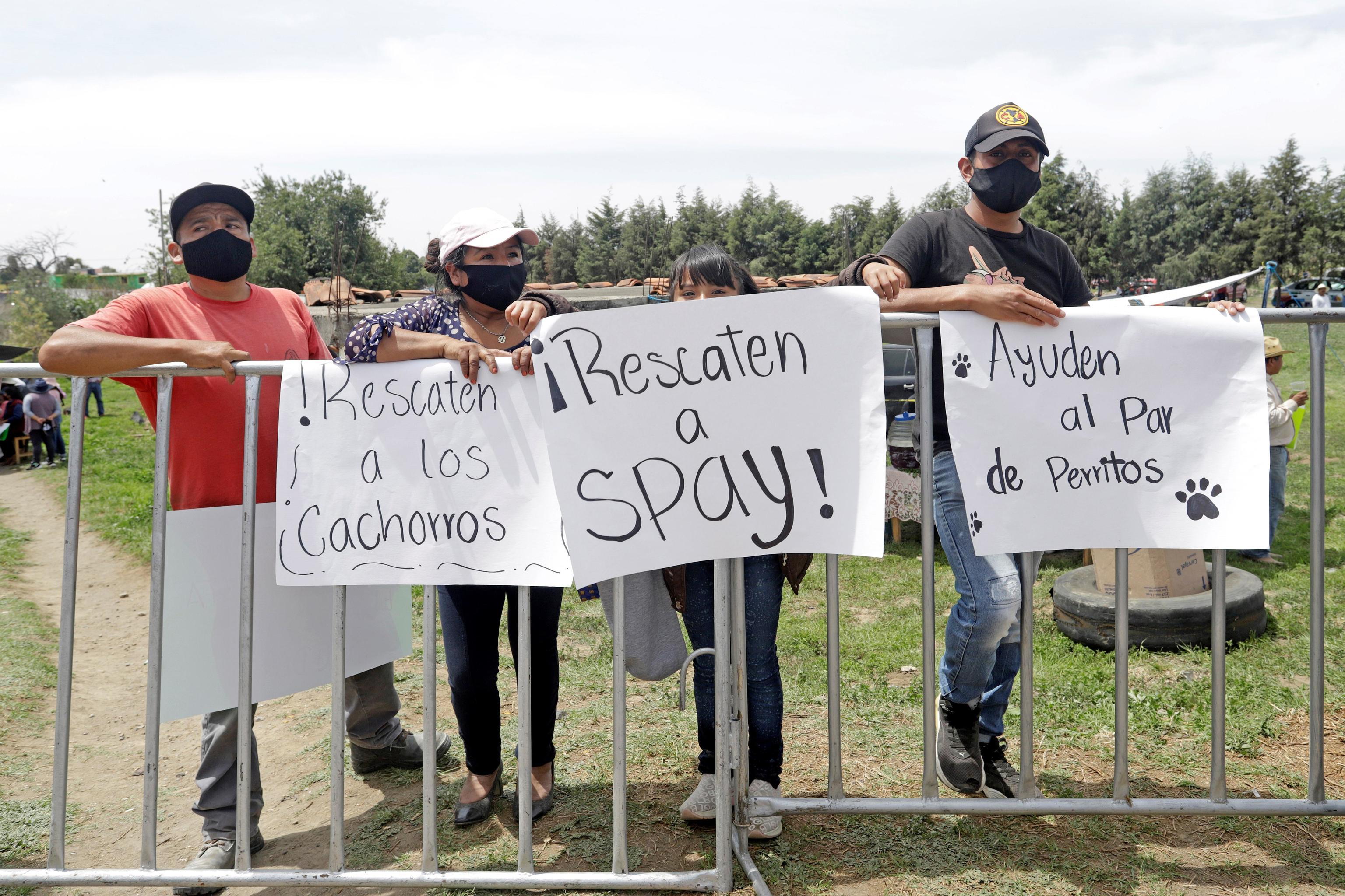 Habitantes de Santa María Zacatepec y animalistas protestan durante la visita del gobernador Miguel Barbosa a la zona del socavón, en Puebla (México).