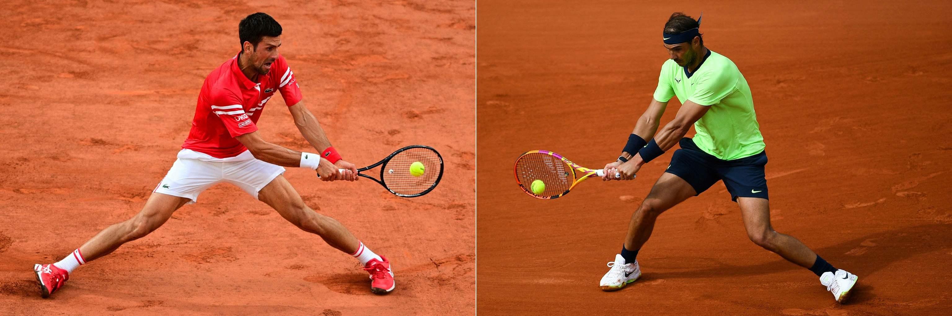 Novak Djokovic y Rafa Nadal, en Roland Garros 2021.