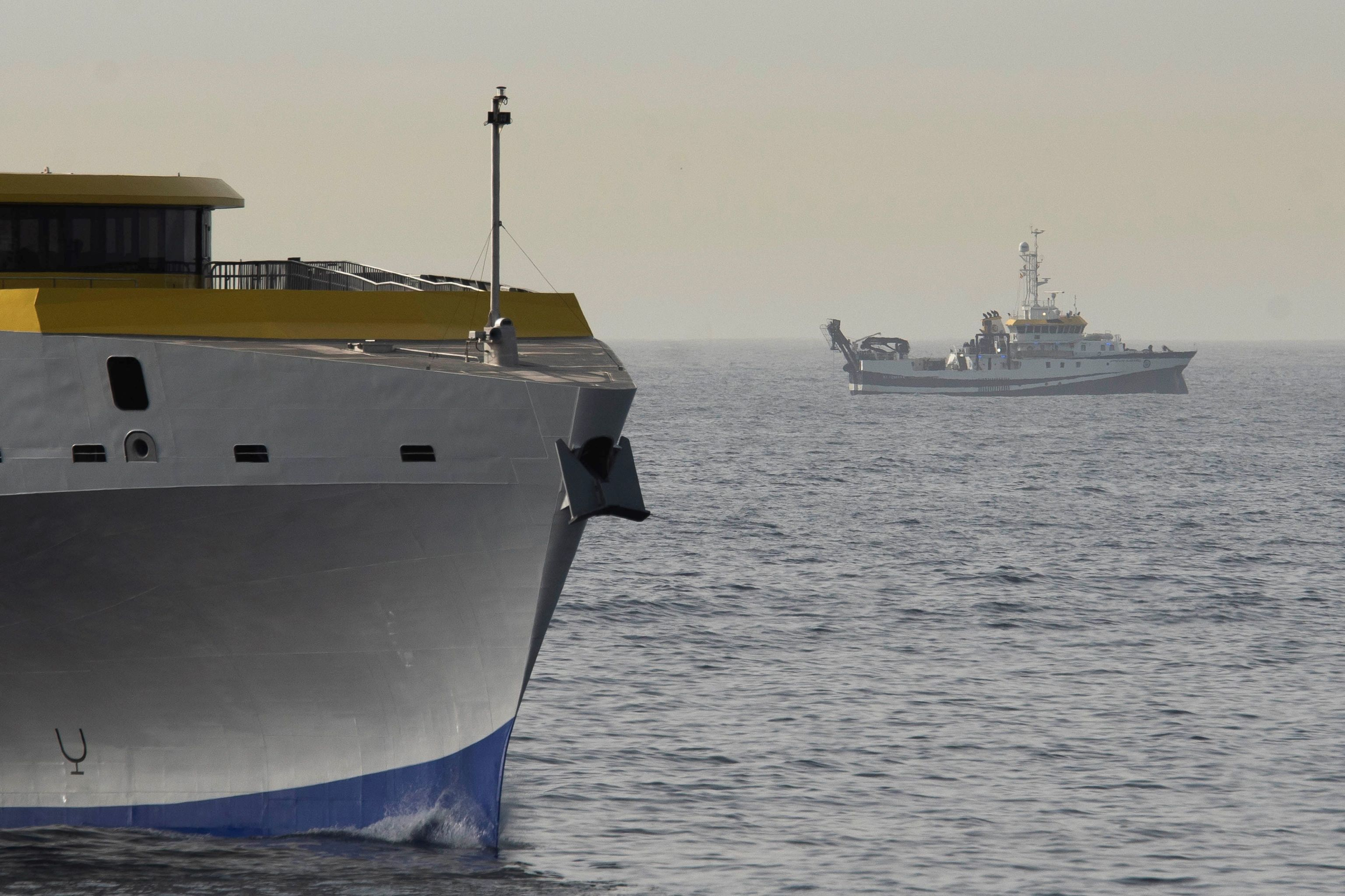 El buque del Instituto Español de Oceanografía 'Ángeles Alvariño', este viernes frente a las costas de Tenerife.