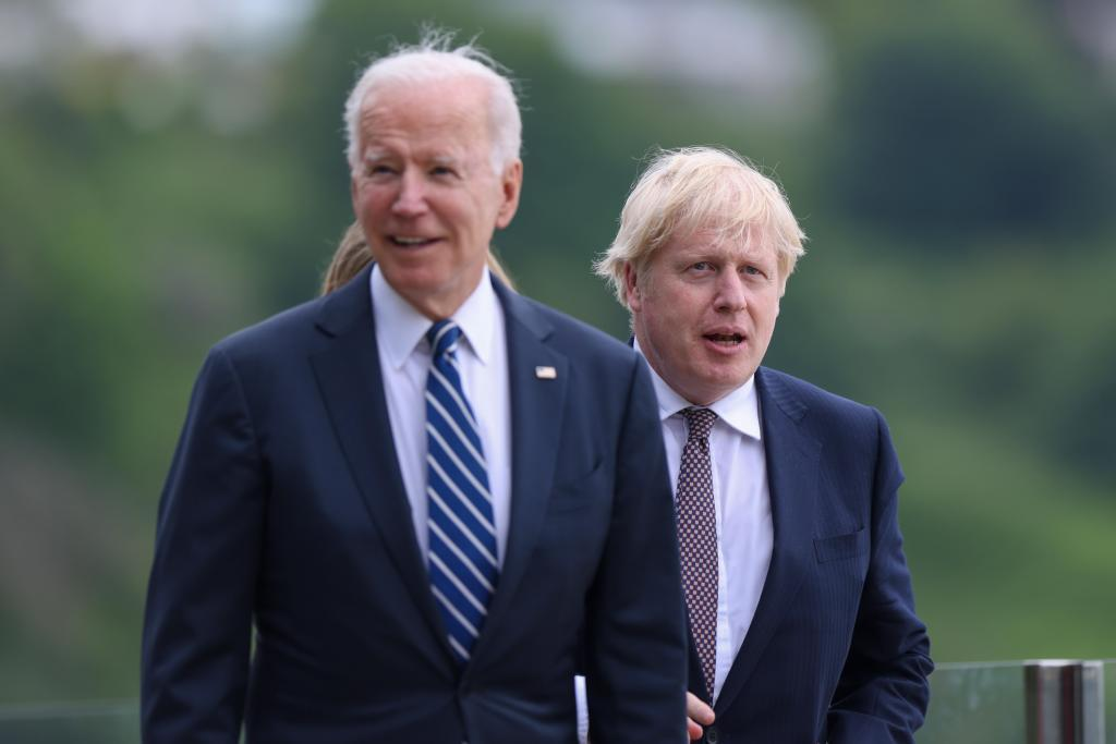 Joe Biden and Boris Johnson, yesterday in Cornwall.