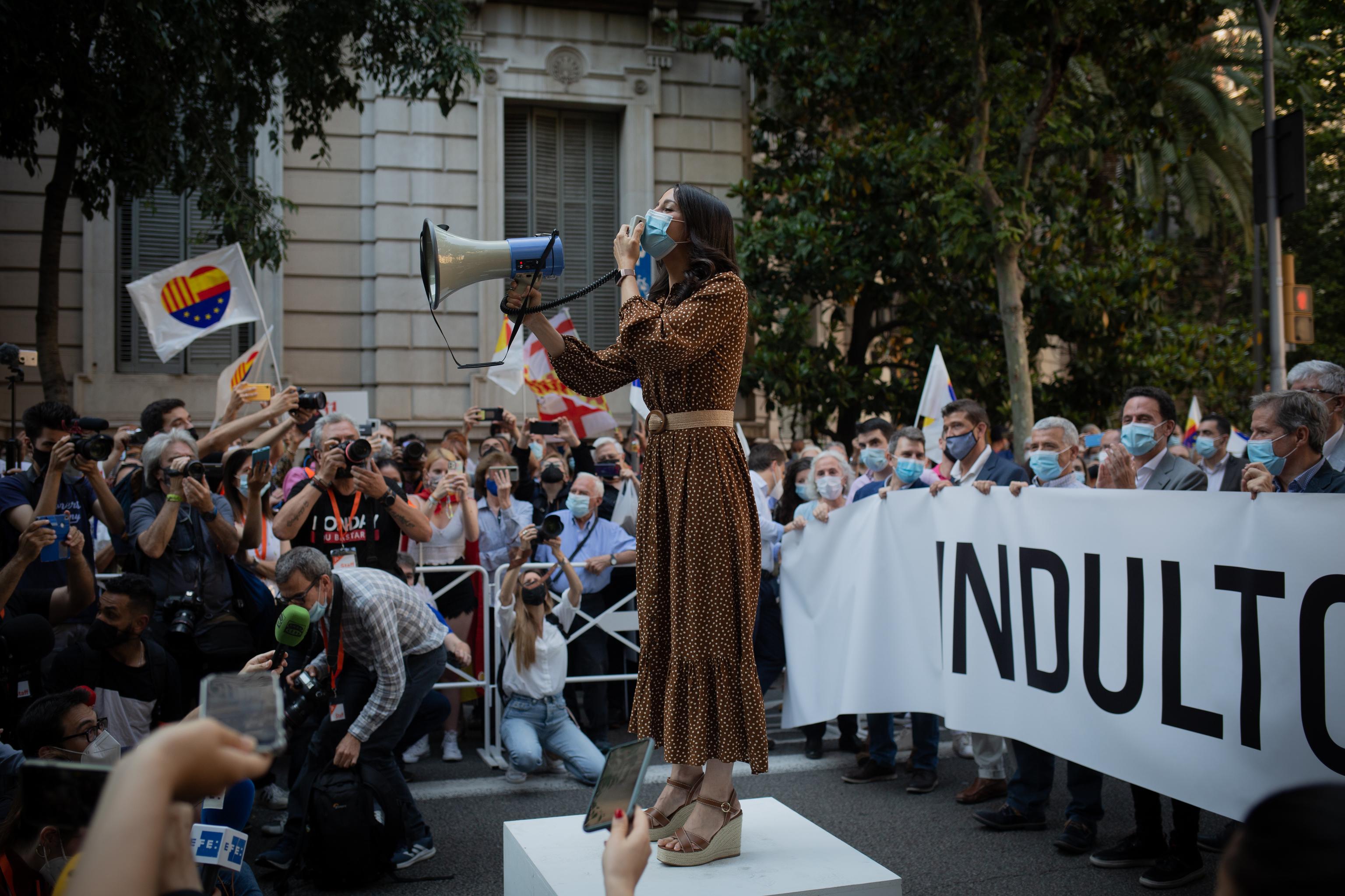 La líder de Ciudadanos, Inés Arrimadas, en la manifestación.