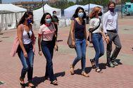 Ione Belarra, junto a Noelia Vera, Isa Serra, Lilith Verstrynge y Pablo Fernández, a su llegada.