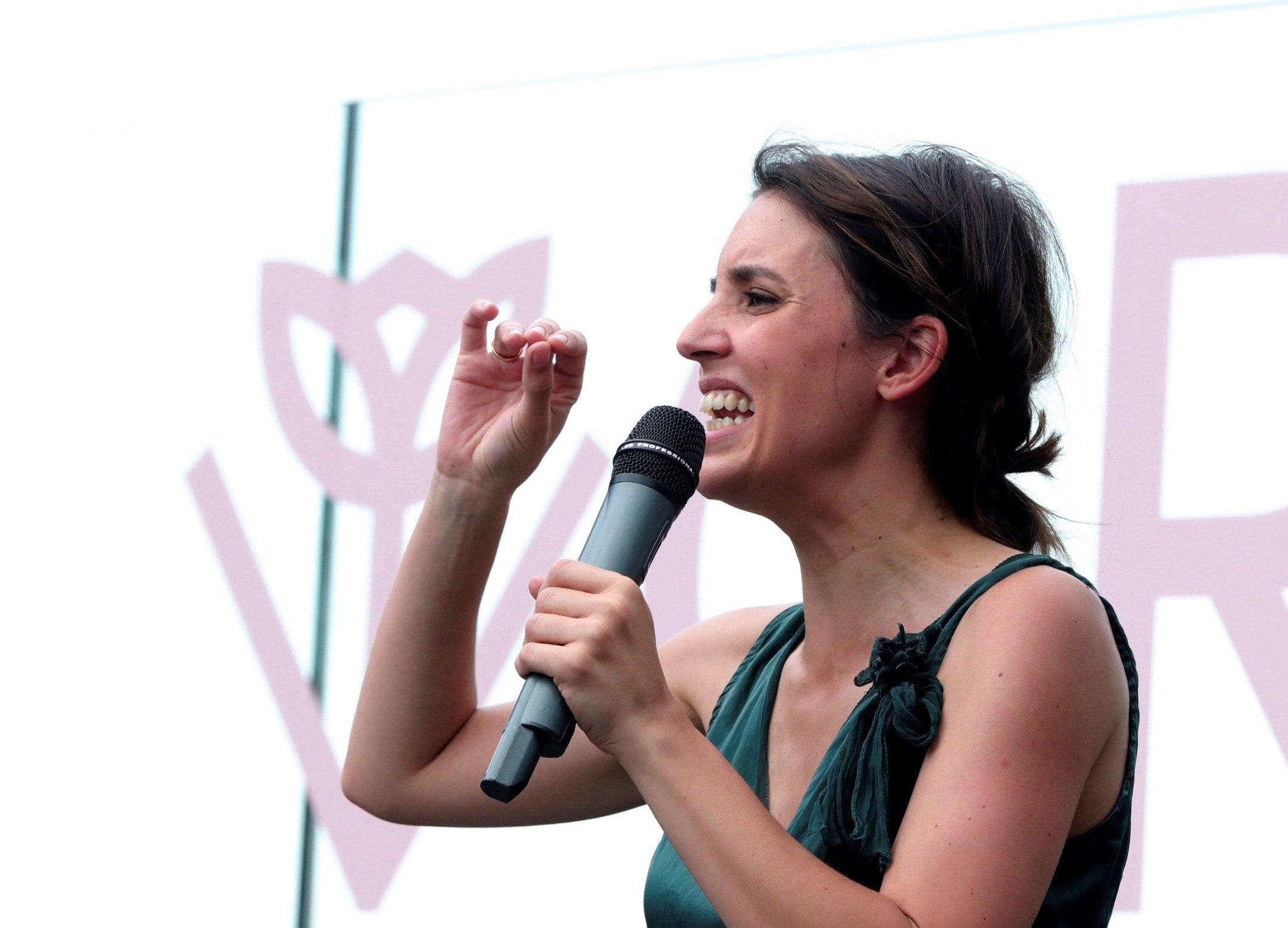 La ministra de Igualdad, Irene Montero, el viernes en Zaragoza.