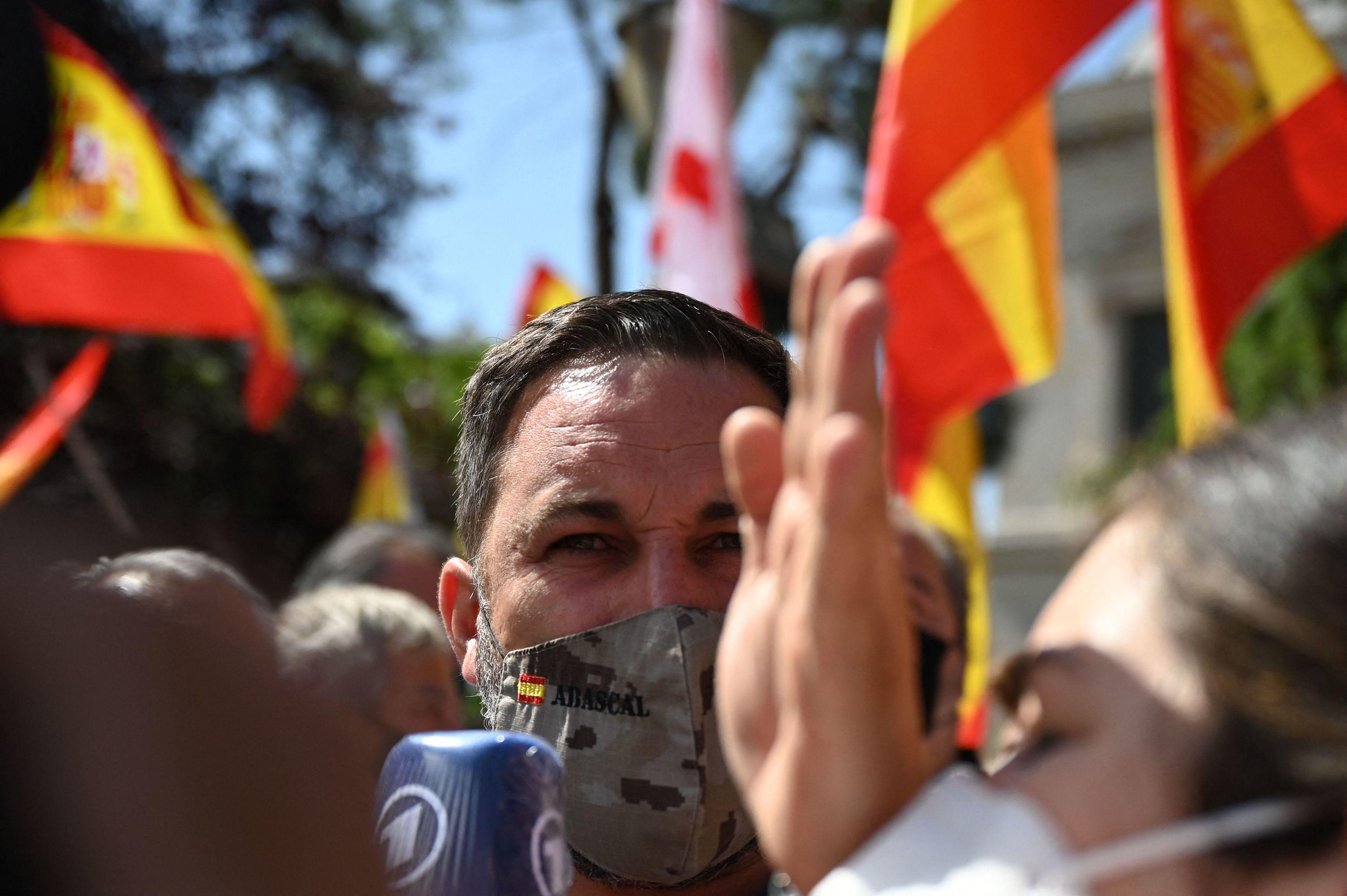 Santiago Abascal, en la manifestación de Colón contra los indultos.