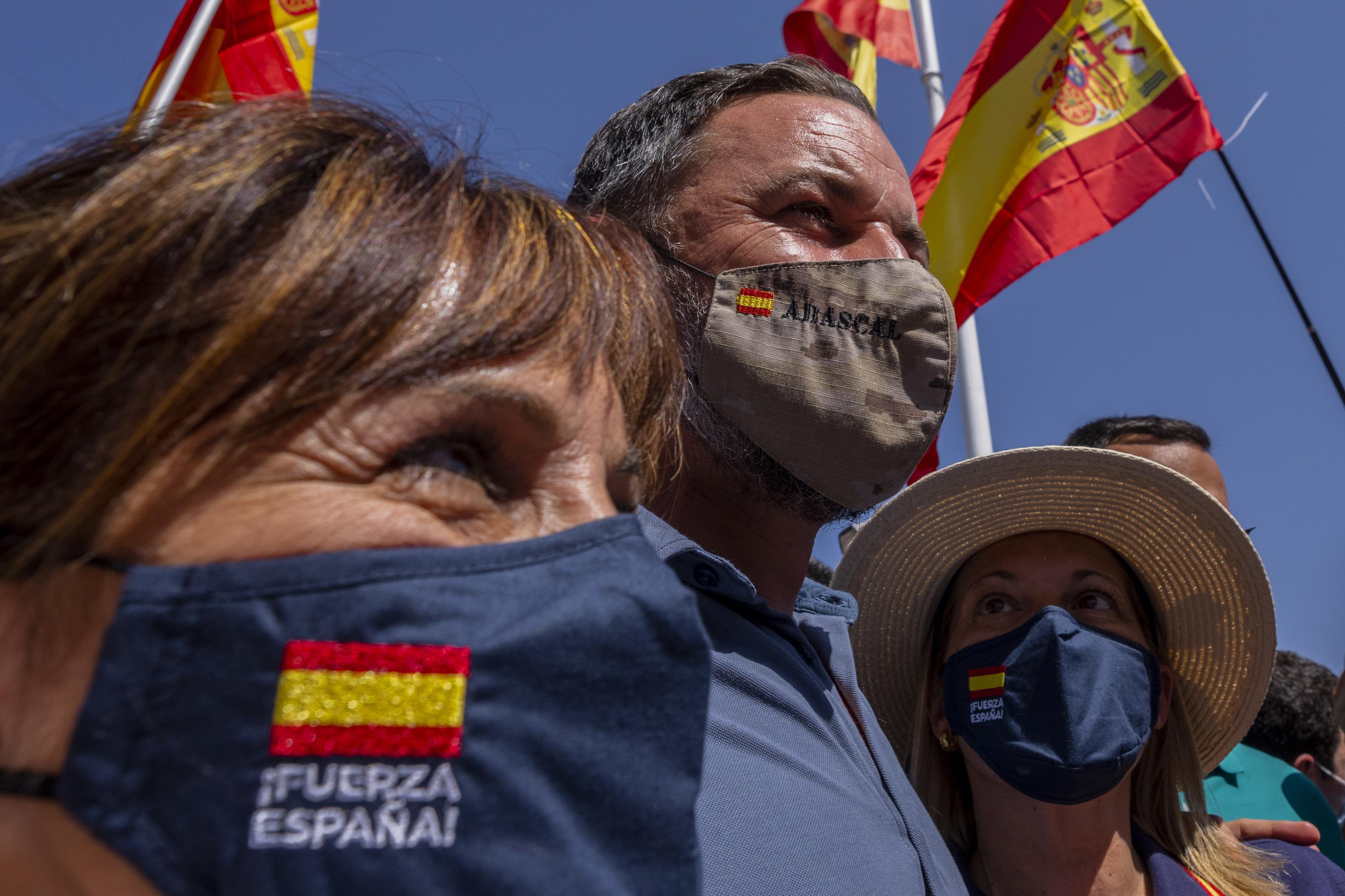 Santiago Abascal, líder de Vox, en la concentración.