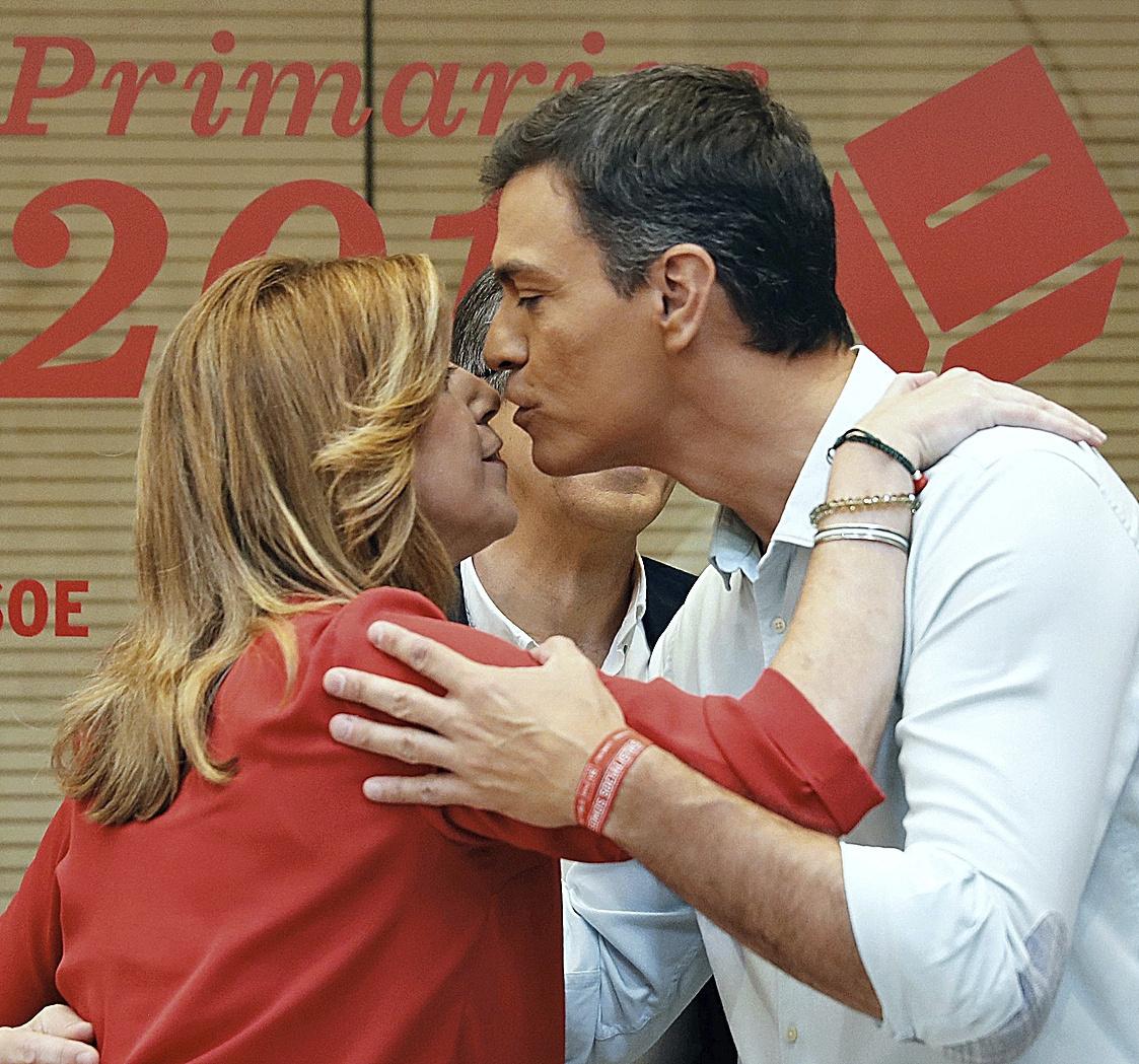 Susana Díaz y Pedro Sánchez, cuando competían por liderar el PSOE en 2017.
