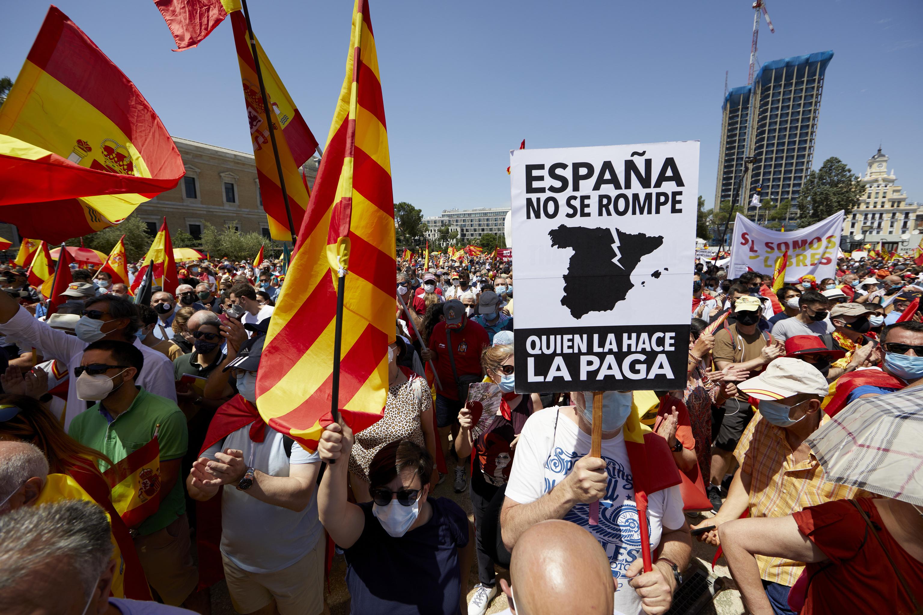 Manifestación contra los indultos en Madrid.