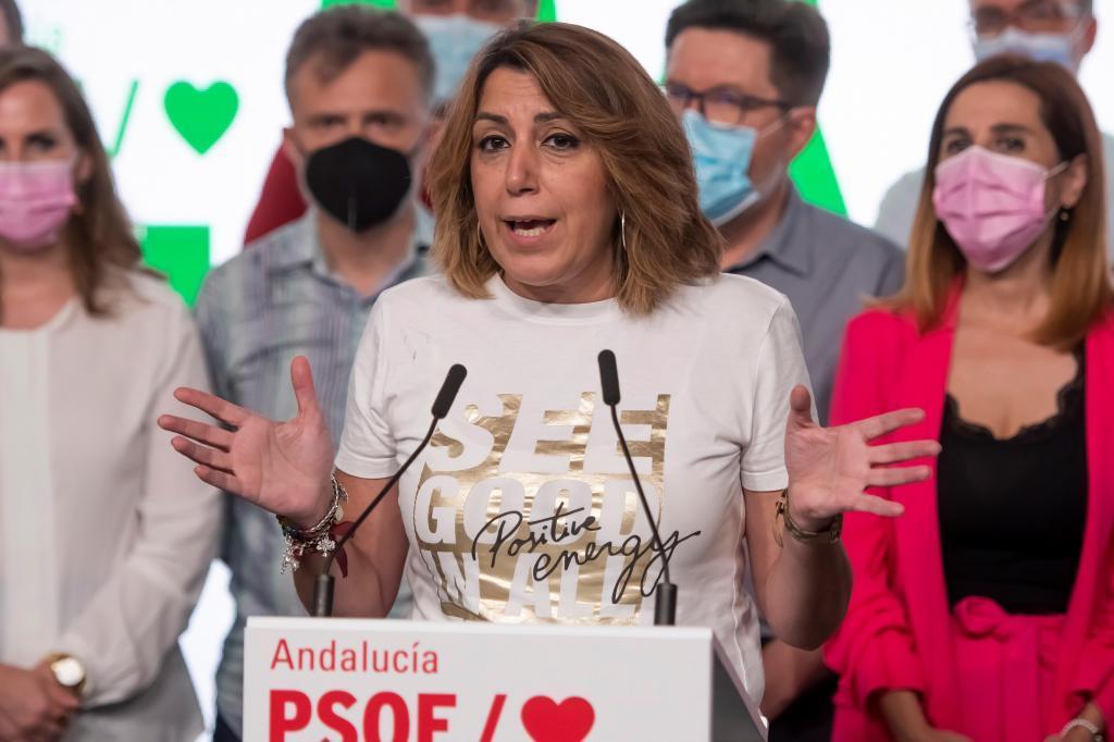 Susana Díaz interviene ante los medios tras conocerse el triunfo de Juan Espadas.