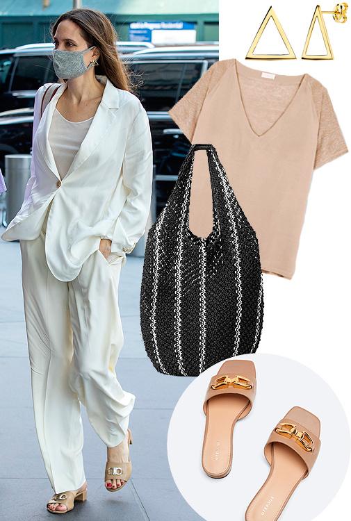 Angelia Jolie con sandalias de Salvatore Ferragamo. Pendientes de triángulo (antes 247,59 ¤; ahora 148,55 ¤), de Joyería Armaan. Camiseta de punto y lino (90 ¤), de TCN. Bolso XXL (69 ¤), de Cos. Sandalias (79 ¤), de Uterqüe.