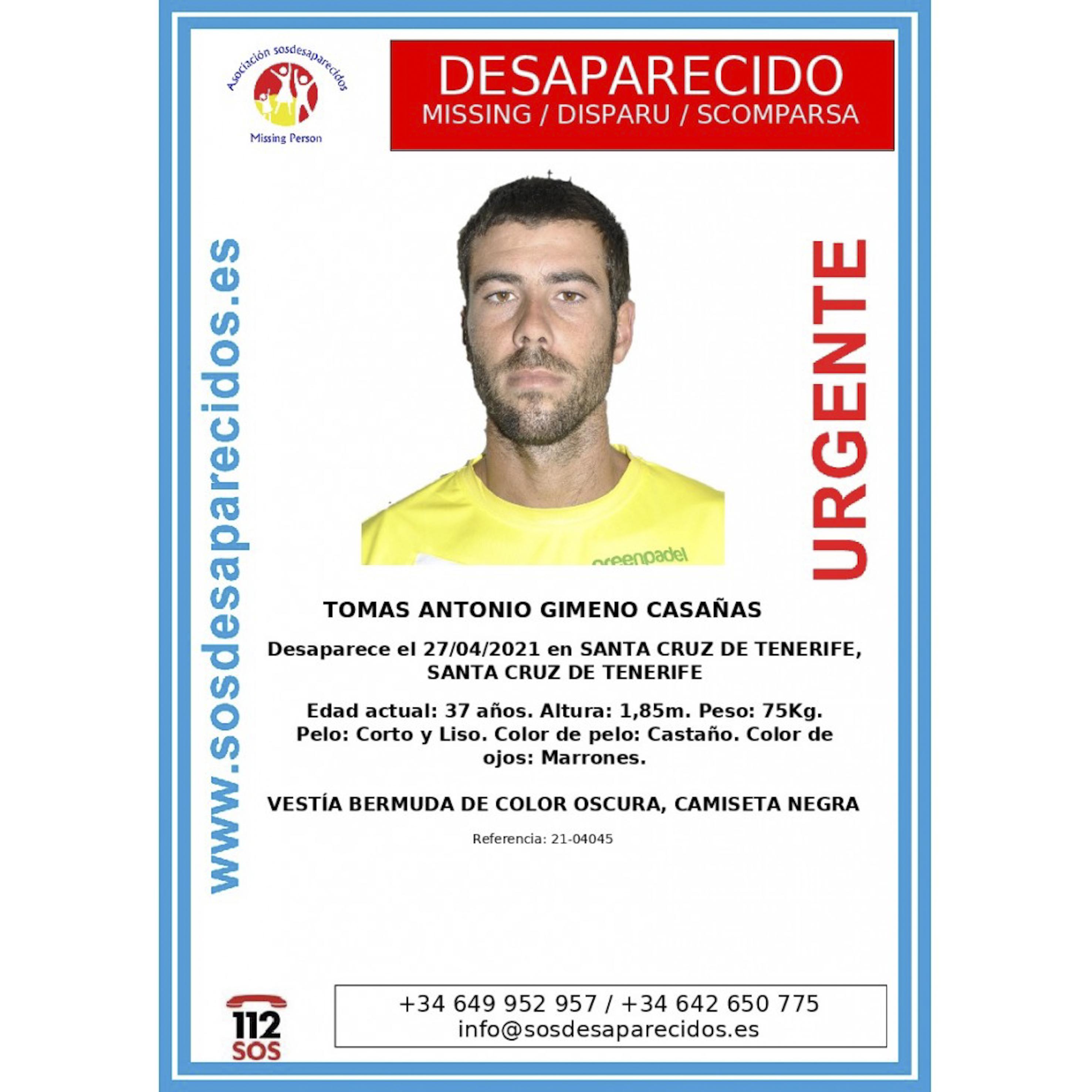 Cartel de búsqueda de Tomás Gimeno.