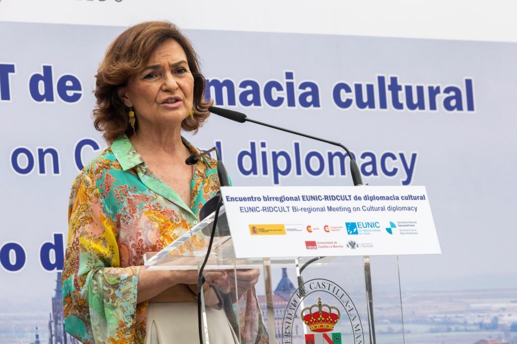 Carmen Calvo, durante la clausura del primer encuentro de diplomacia cultural de Europa e Iberoamérica.