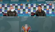Cristiano Ronaldo aparta dos botellas de Coca-Cola en la rueda de prensa de la Eurocopa.