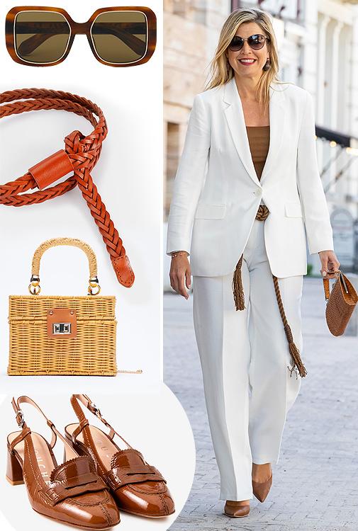 Gafas de sol, de Carolina Herrera. Máxima de los Países Bajos con un traje de chaqueta blanco. Cinturón (15,99 ¤), de Parfois. Bolso de mimbre (29,95 ¤), de Zara. Zapatos (139 ¤), de Latouche en El Corte Inglés.