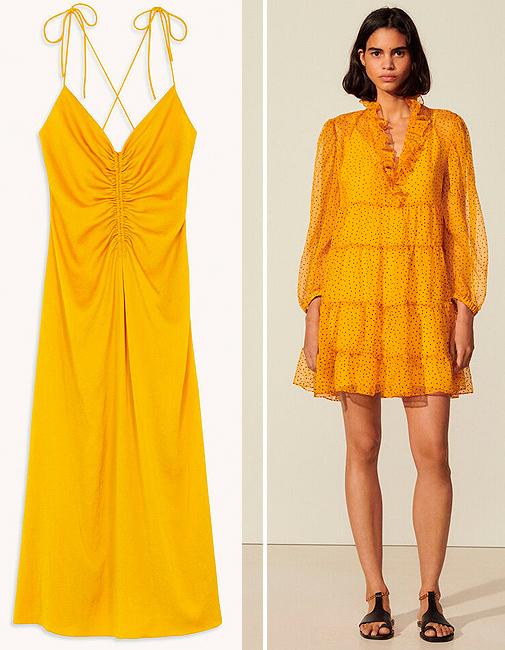 Vestido lencero que luce sara Carbonero (antes 195 ¤; ahora 136,50 ¤) y modelo corto amarillo (antes 295 ¤; ahora 236 ¤), ambos de Sandro.