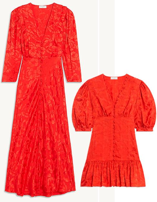 Vestido midi rojo (antes 345 ¤; ahora 172,50 ¤) y mini (antes 325 ¤; ahora 162 ¤), de Sandro.