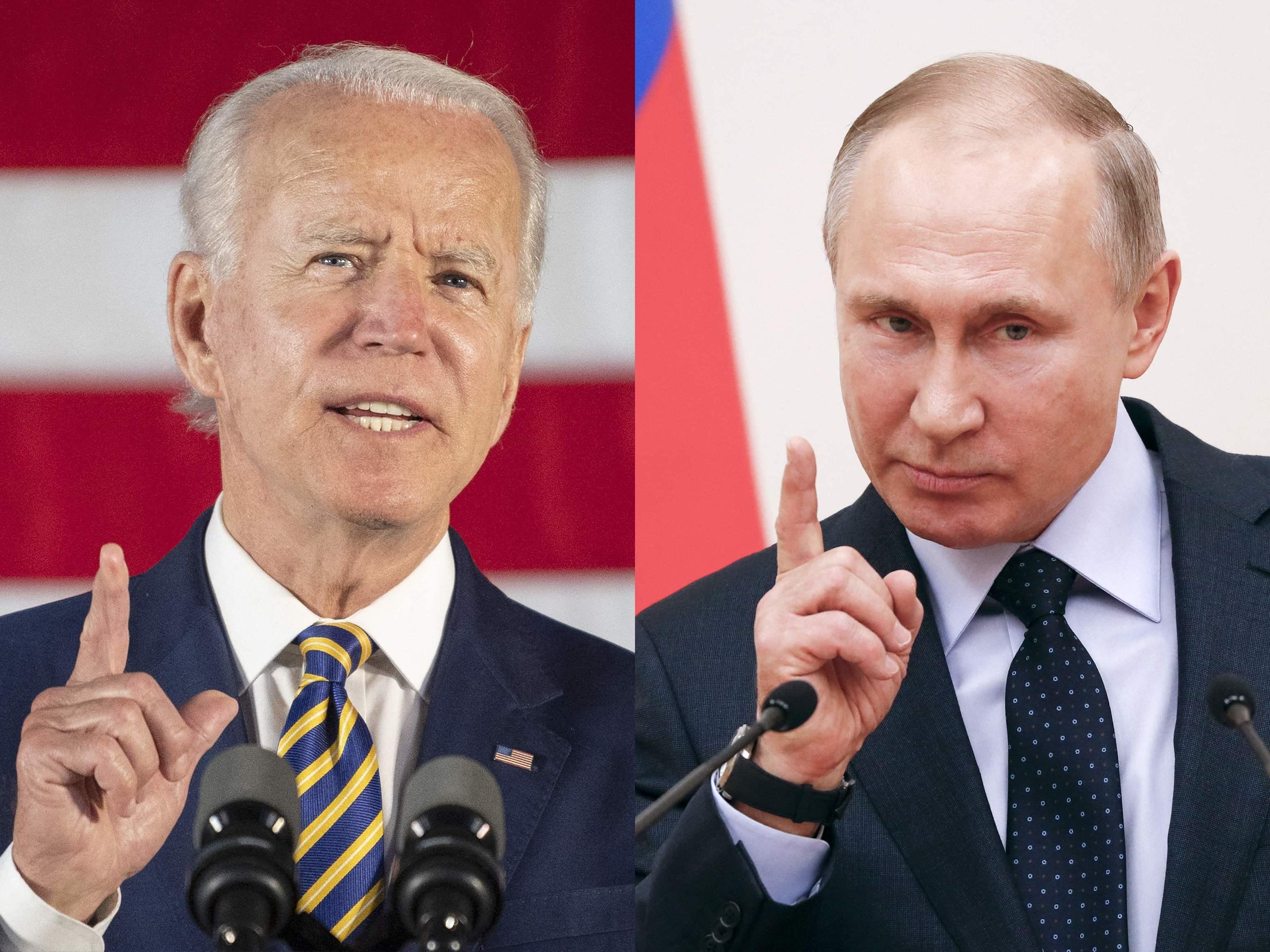 Joe Biden (izquierda) y Vladimir Putin (derecha).