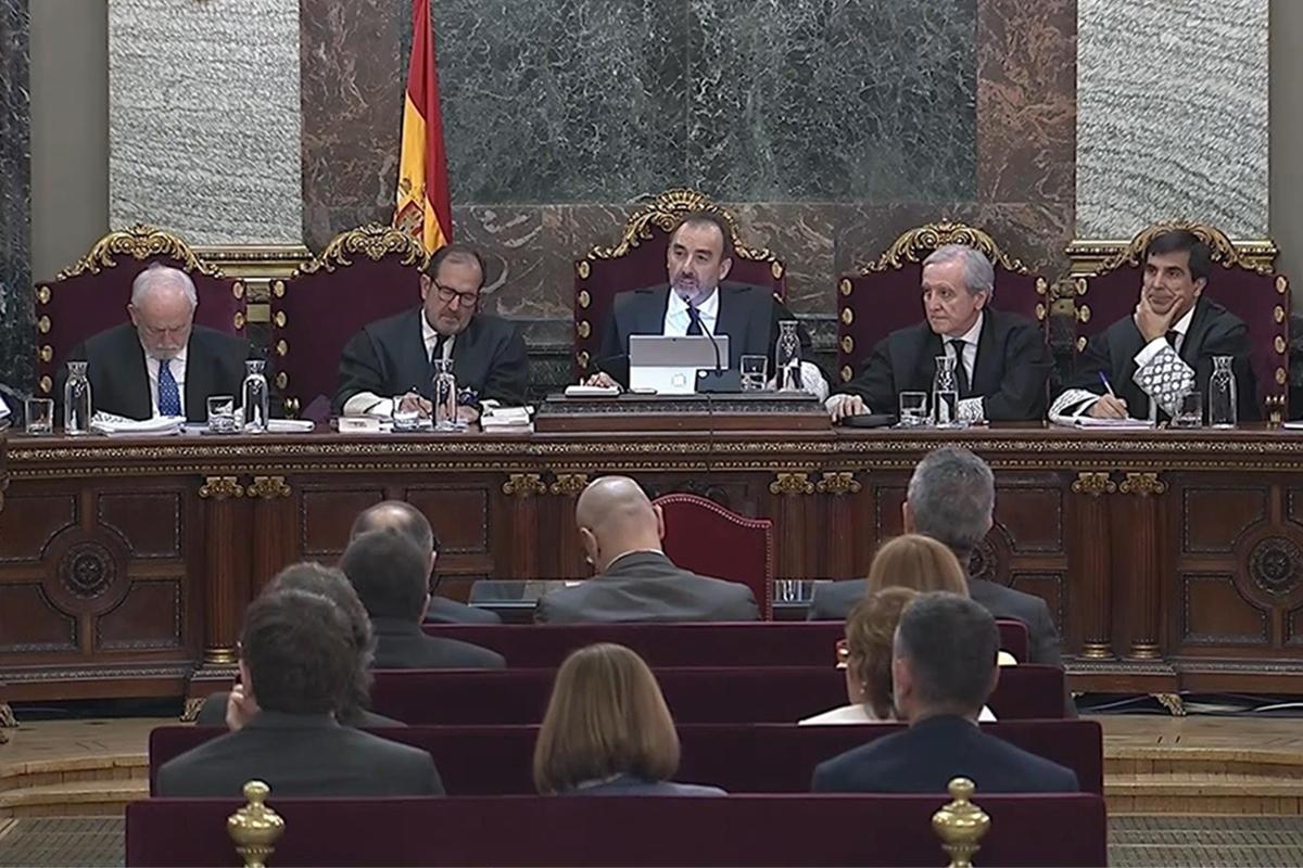 El tribunal del 1-O en la última sesión del juicio celebrado en el Tribunal Supremo.