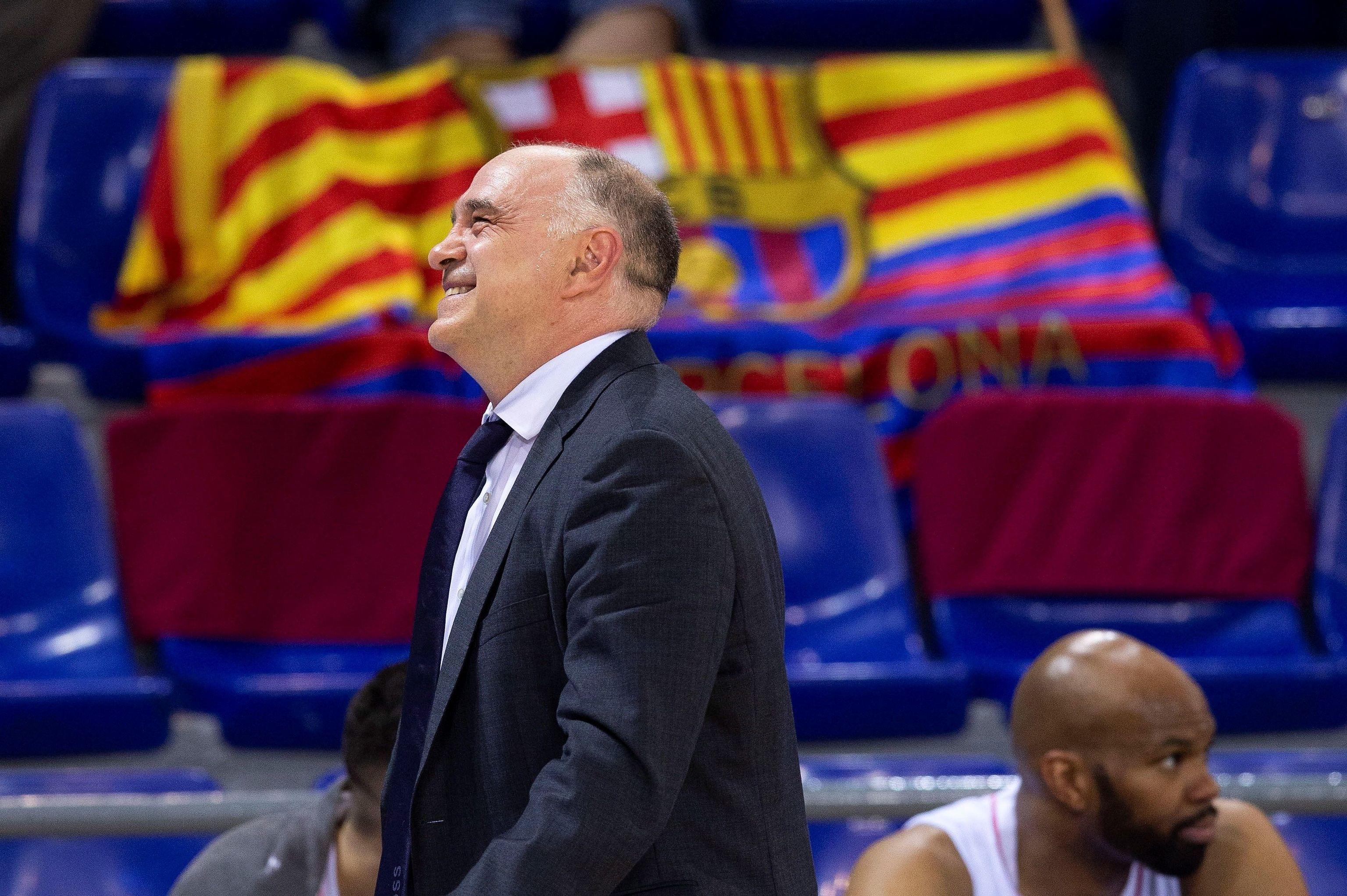 Pablo Laso, durante el partido del Palau.