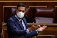 Pedro Sánchez, durante la sesión de control en el Congreso.