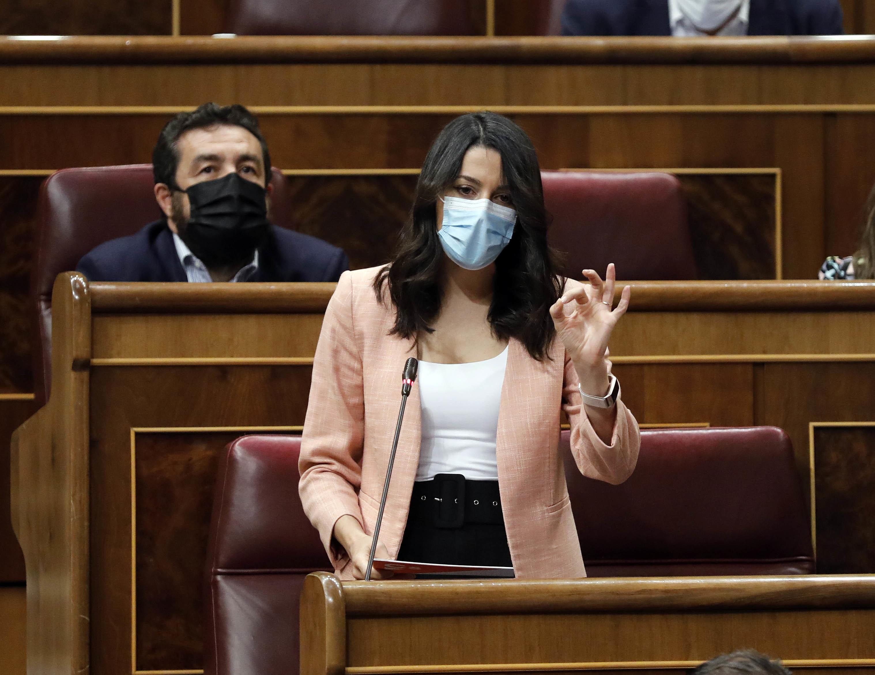Inés Arrimadas, líder de Ciudadanos, ayer en el Congreso.