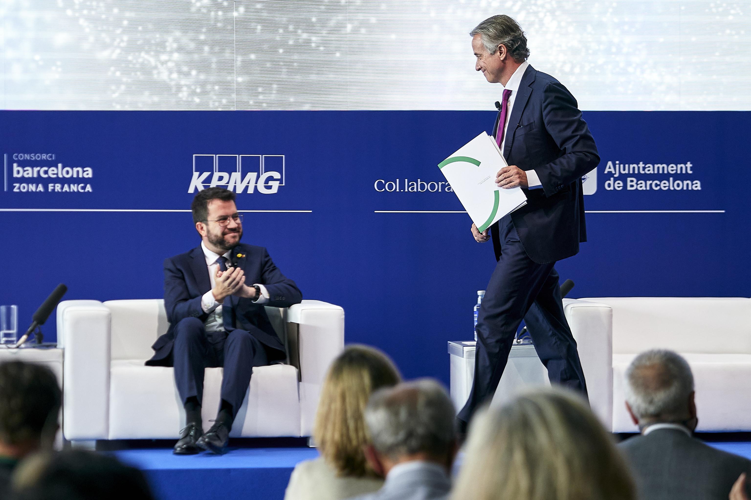 El presidente de la Generalitat, Pere Aragonès, y el del Cercle, Javier Faus
