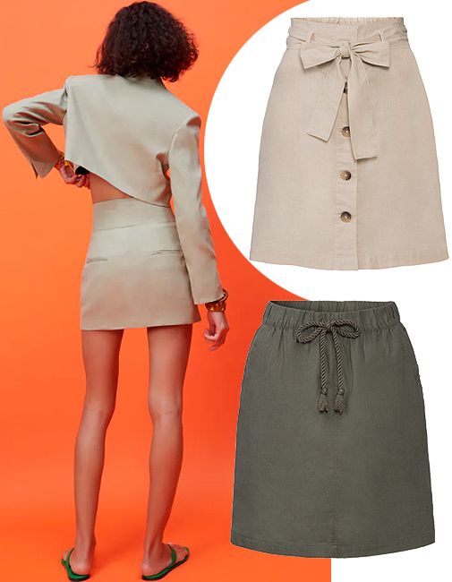 Mini falda de lino (29,95 ¤), de Zara. Faldas, de la colección 'Lino', de Esmara.