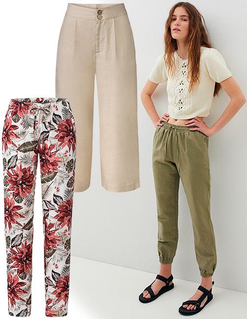 Pantalones liso y estampado (9,99 ¤/ un), de Esmara. Jogger kaki (19,99 ¤), de Sfera.