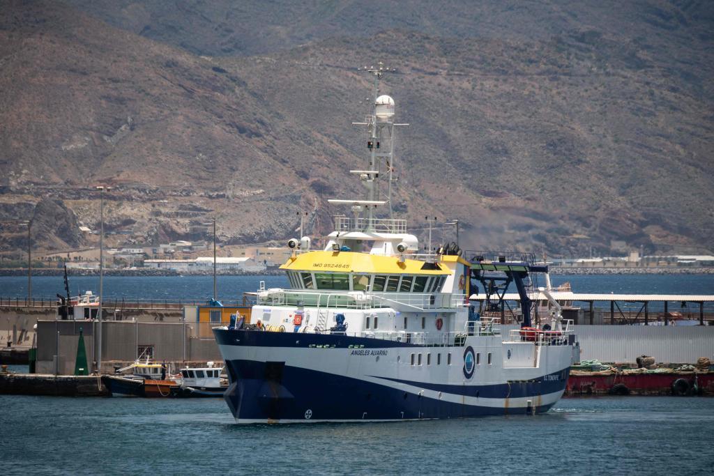 El buque oceanográfico Ángeles Alvariño, en el Puerto de Santa Cruz de Tenerife.
