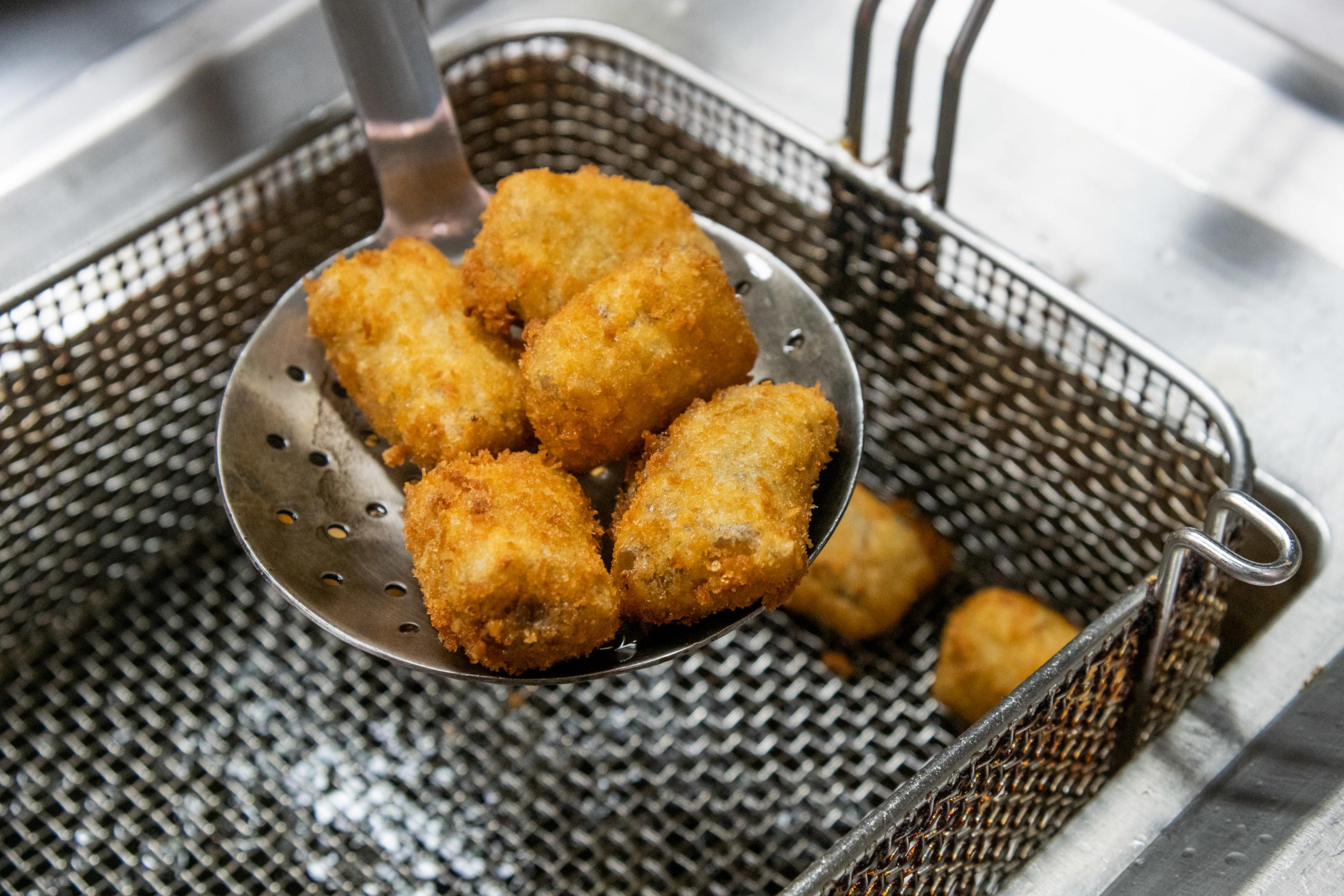 Algunas de las croquetas del chef Juan Pozuelo en su 'showcooking' de este jueves.