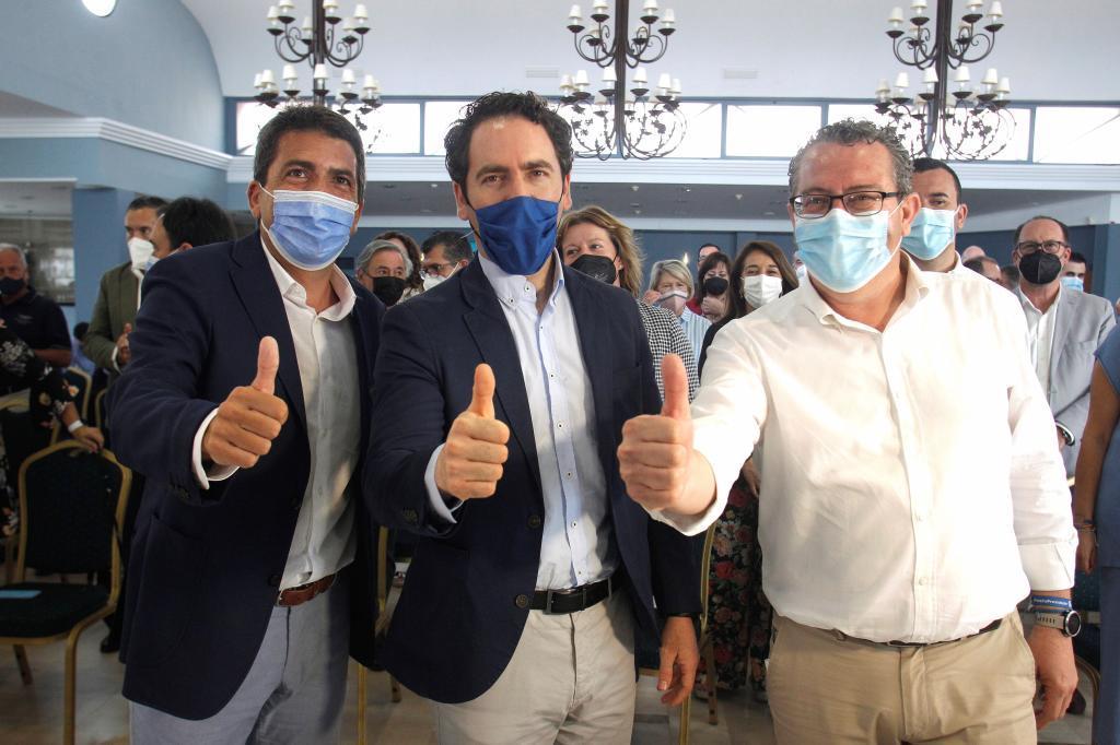 Carlos Mazón, Teodoro García Egea y Toni Pérez, en Alicante.