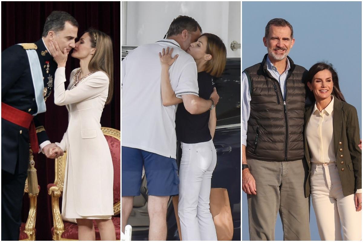 Los Reyes, en el acto de proclamación ante las Cortes, en 2014; en el Náutico de Palma, en 2015; en Doñana, en febrero de 2020.