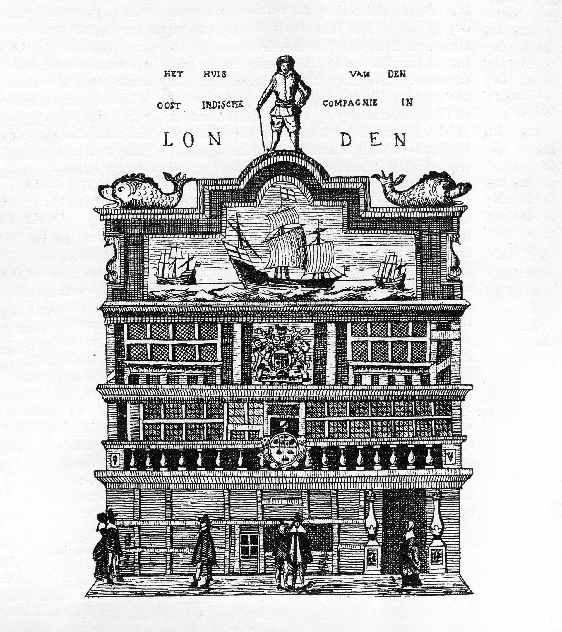 Grabado del edificio sede de la Compañía de las Indias Orientales en 1726.