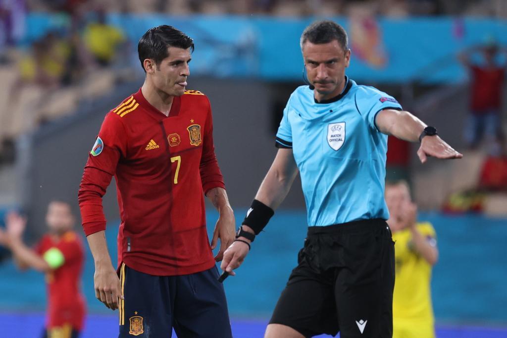 Morata en el anterior partido de España en la Eurocopa