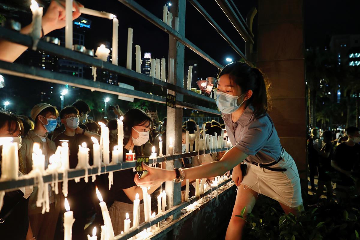 Vigilia por las víctimas de Tiananmen en Hong Kong.