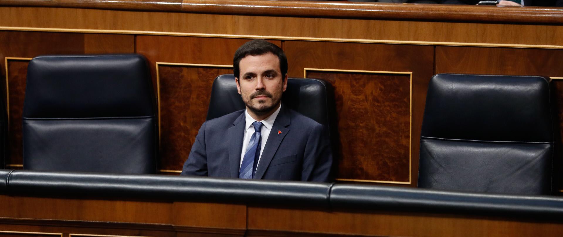 Alberto Garzón en la bancada del Gobierno.