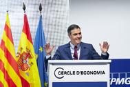 Pedro Sánchez, durante su intervención en Barcelona.