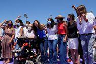 Belarra, junto a parte de su equipo, el pasado fin de semana en la Asamblea de Podemos.