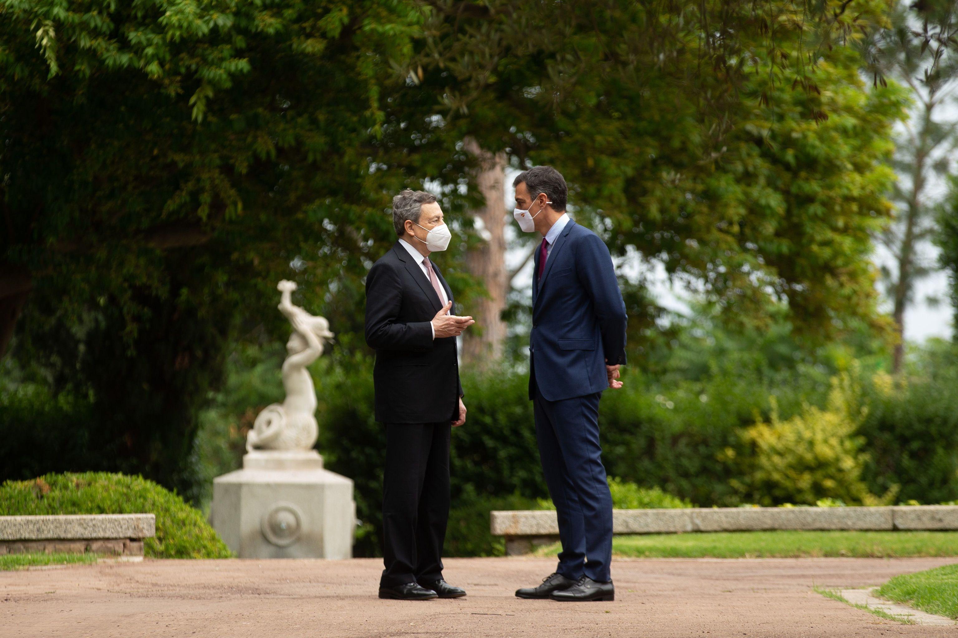 Mario Draghi y Pedro Sánchez, en Barcelona.
