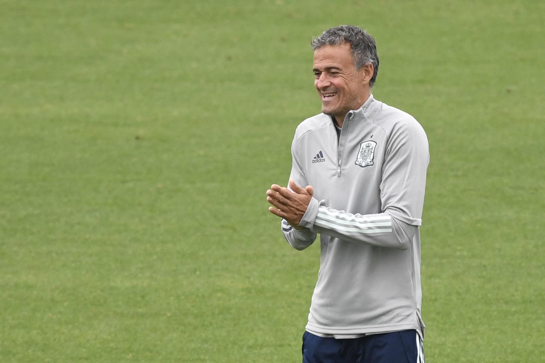 Luis Enrique, durante el entrenamiento de este viernes.