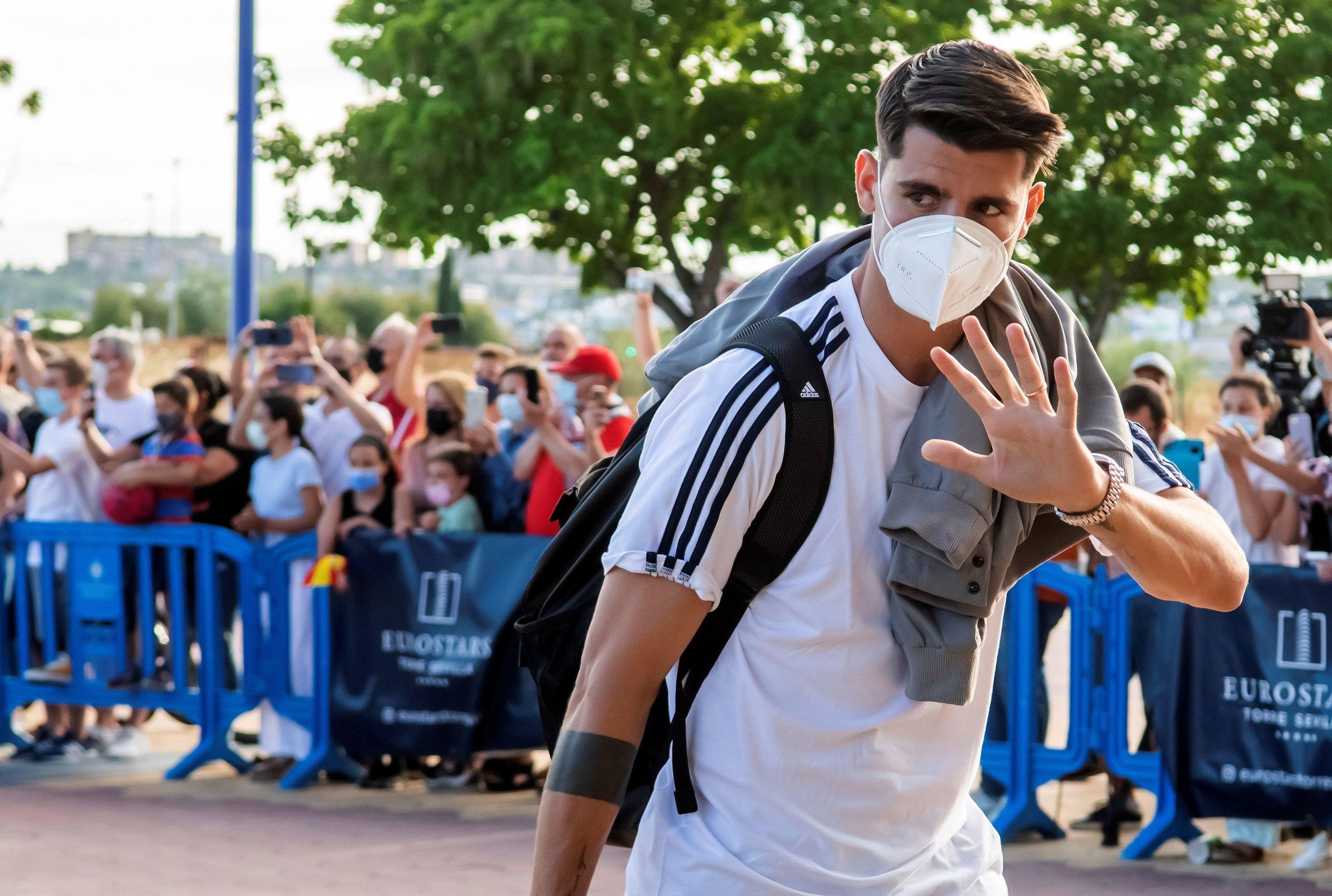 Álvaro Morata, a su llegada a Sevilla.