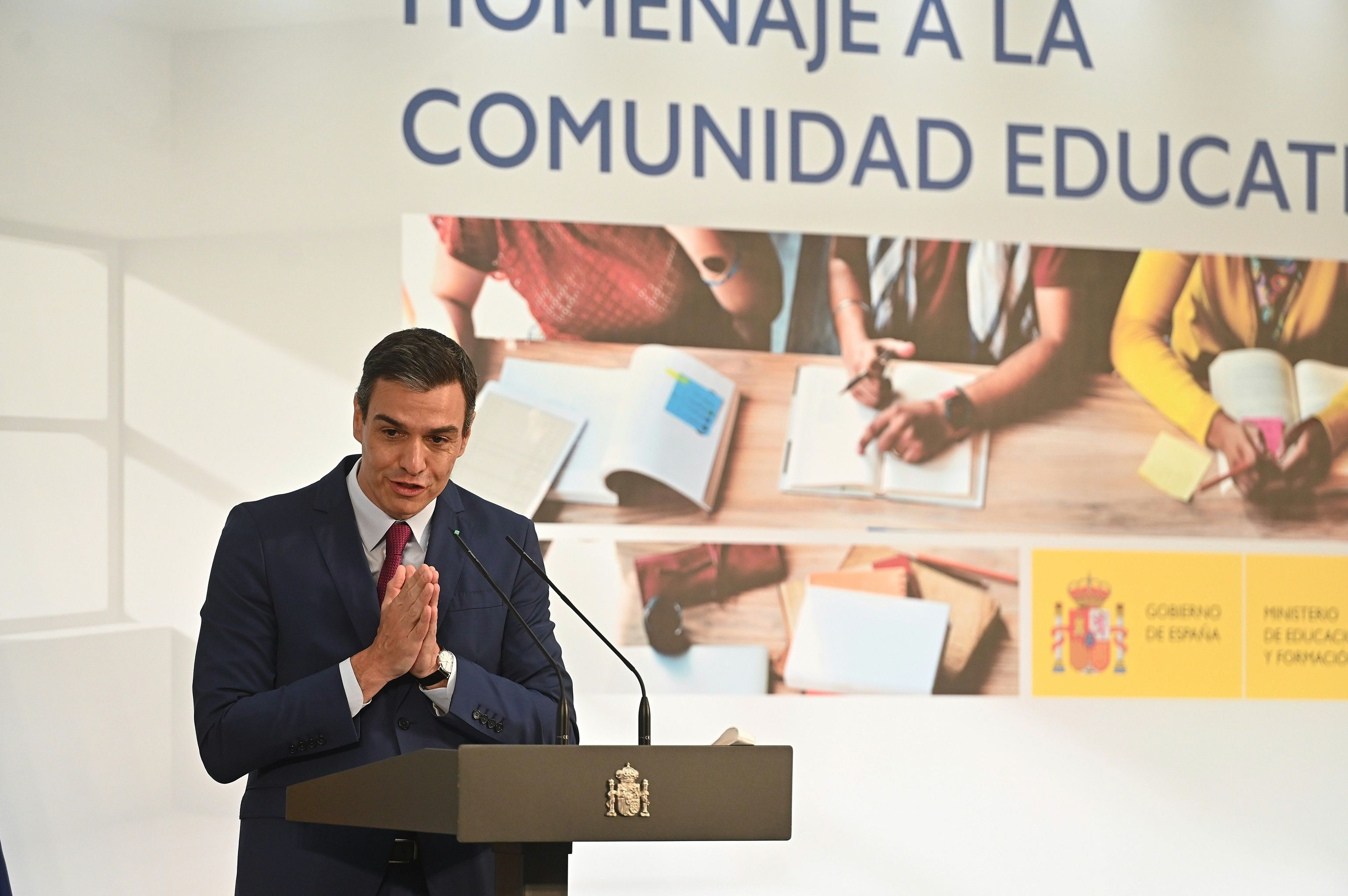 Pedro Sánchez, este sábado, en un acto homenaje a la comunidad educativa.