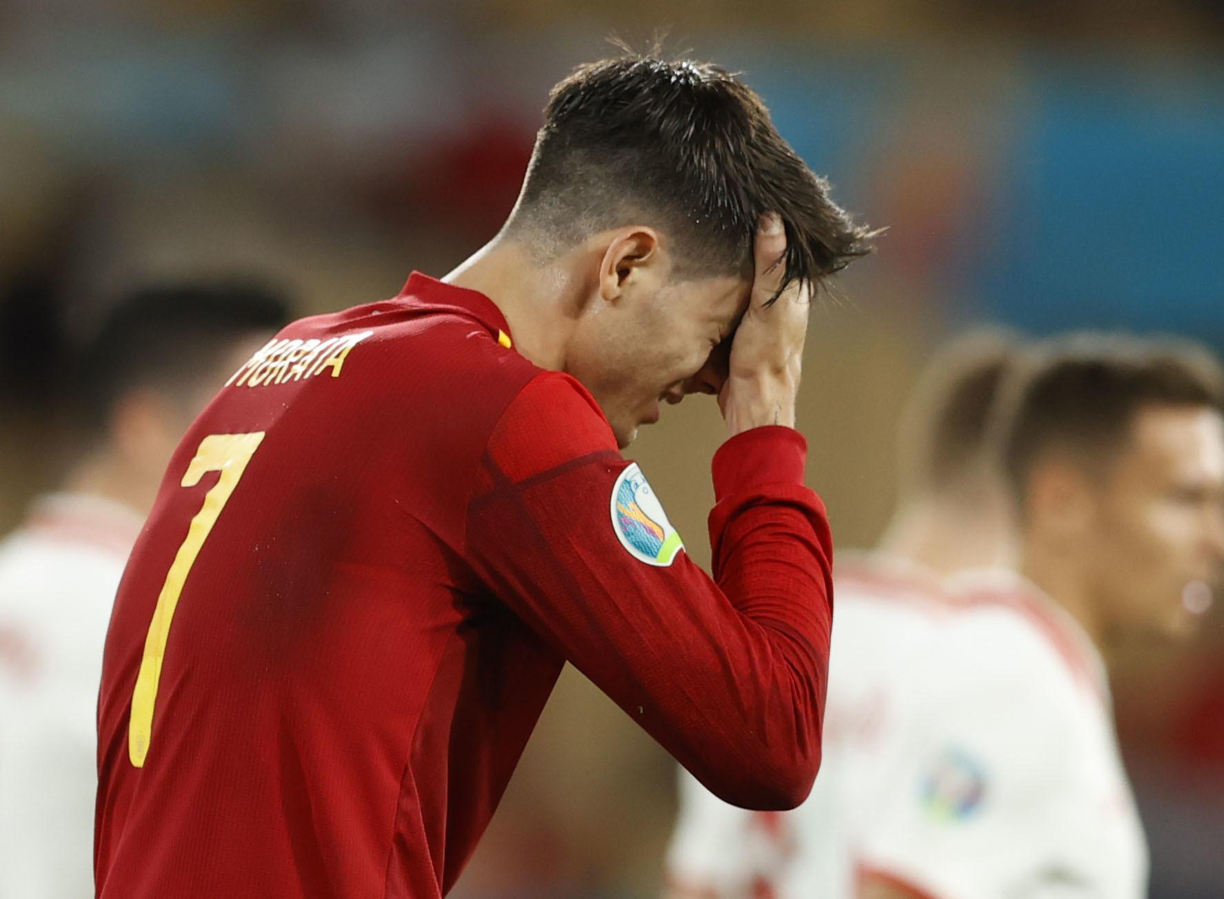 Morata, tras fallar una ocasión ante Polonia.