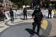 Protestas de independentistas a la llegada de Pedro Sánchez.
